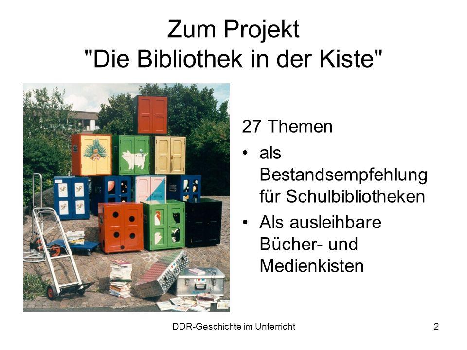 DDR-Geschichte im Unterricht13 Spielfilme Karla (DDR 1966/1990) –Lehrerin –Schule –kritisches Denken vs.