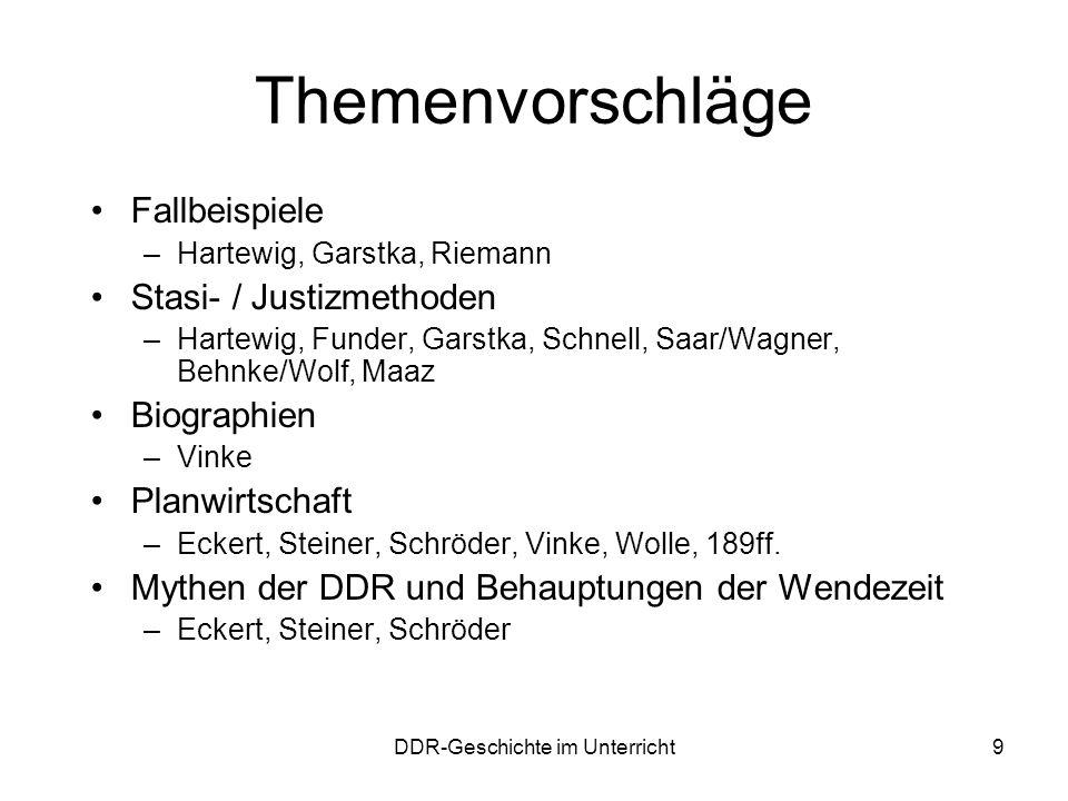 DDR-Geschichte im Unterricht9 Themenvorschläge Fallbeispiele –Hartewig, Garstka, Riemann Stasi- / Justizmethoden –Hartewig, Funder, Garstka, Schnell,
