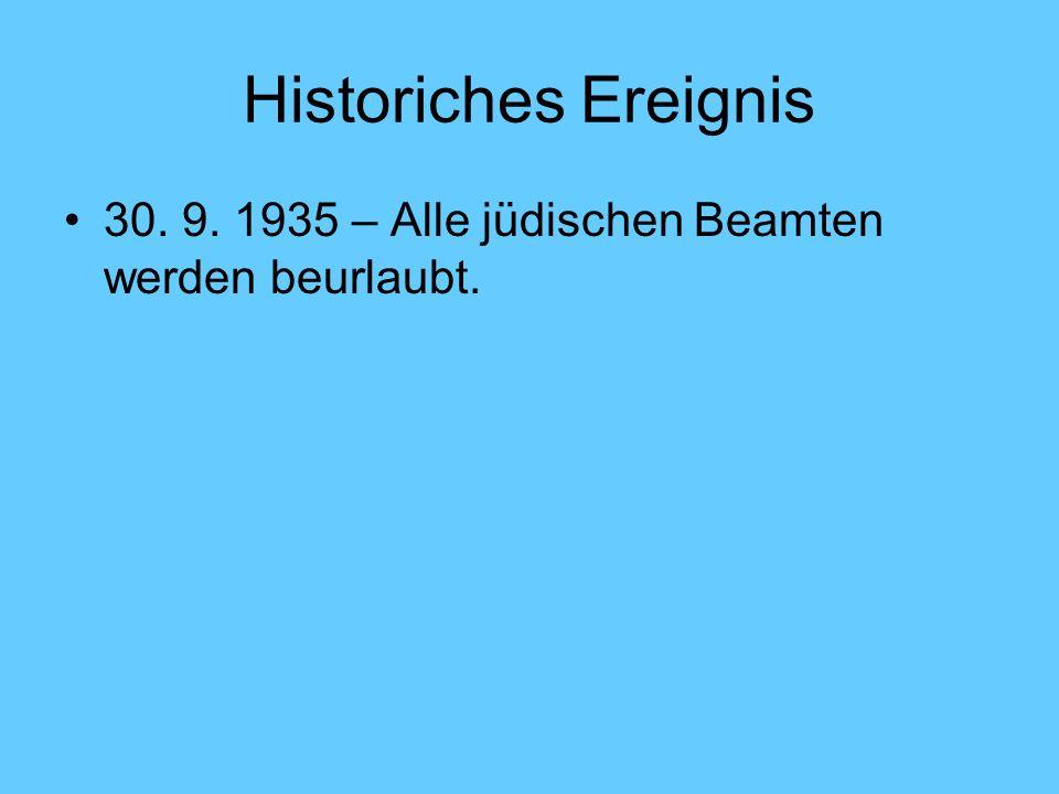 Historiches Ereignis 30. 9. 1935 – Alle jüdischen Beamten werden beurlaubt.