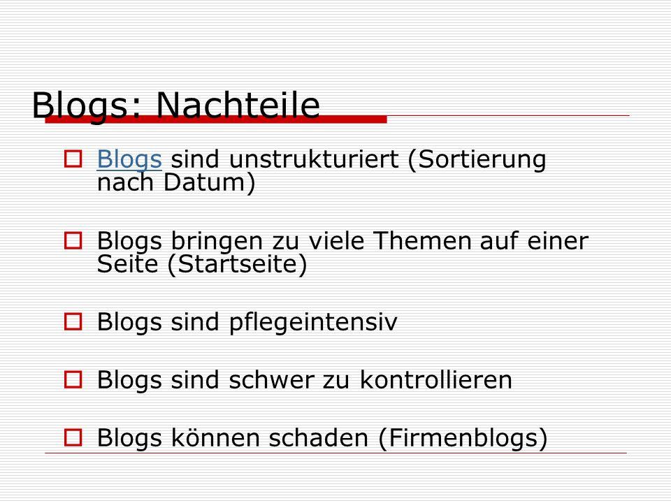 Blogs sind unstrukturiert (Sortierung nach Datum) Blogs Blogs bringen zu viele Themen auf einer Seite (Startseite) Blogs sind pflegeintensiv Blogs sind schwer zu kontrollieren Blogs können schaden (Firmenblogs) Blogs: Nachteile