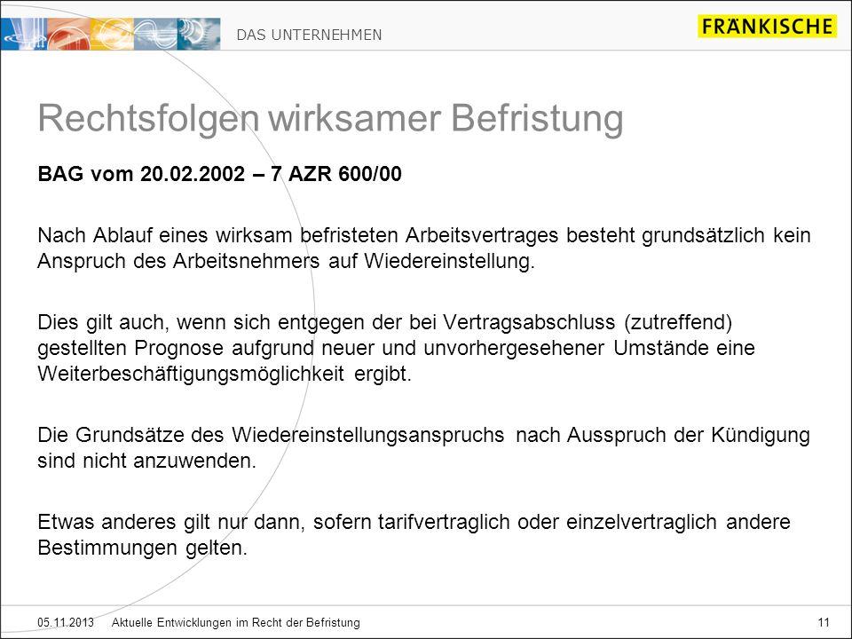 DAS UNTERNEHMEN 05.11.2013 Aktuelle Entwicklungen im Recht der Befristung11 BAG vom 20.02.2002 – 7 AZR 600/00 Nach Ablauf eines wirksam befristeten Ar