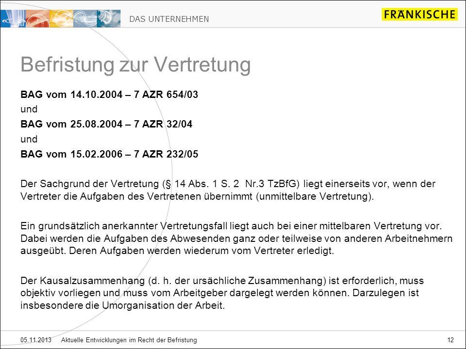 DAS UNTERNEHMEN 05.11.2013 Aktuelle Entwicklungen im Recht der Befristung12 BAG vom 14.10.2004 – 7 AZR 654/03 und BAG vom 25.08.2004 – 7 AZR 32/04 und