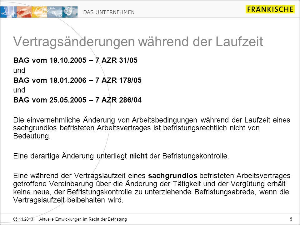 DAS UNTERNEHMEN 05.11.2013 Aktuelle Entwicklungen im Recht der Befristung5 BAG vom 19.10.2005 – 7 AZR 31/05 und BAG vom 18.01.2006 – 7 AZR 178/05 und