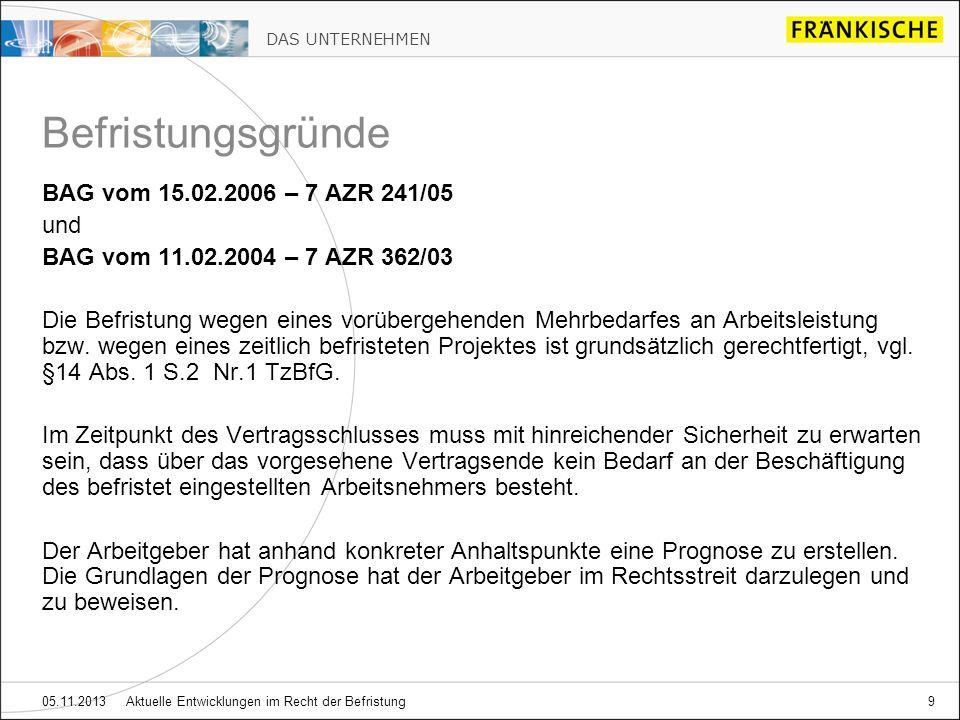 DAS UNTERNEHMEN 05.11.2013 Aktuelle Entwicklungen im Recht der Befristung9 BAG vom 15.02.2006 – 7 AZR 241/05 und BAG vom 11.02.2004 – 7 AZR 362/03 Die