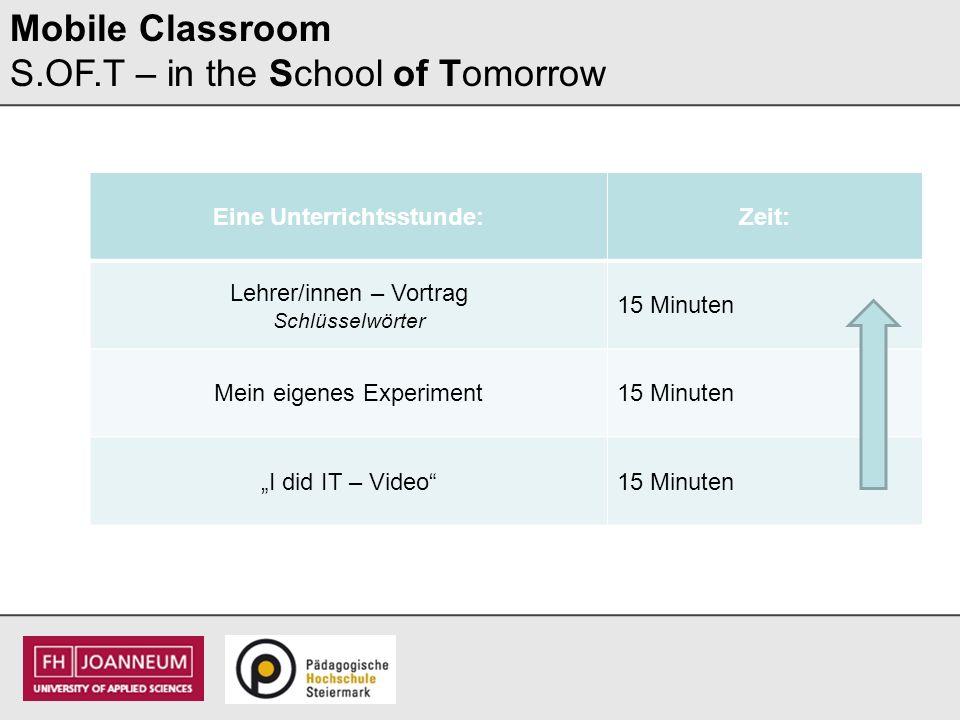 Eine Unterrichtsstunde:Zeit: Lehrer/innen – Vortrag Schlüsselwörter 15 Minuten Mein eigenes Experiment Fotos – Messvideo (was habe ich entdeckt?) 15 Minuten I did IT – Video15 Minuten Mobile Classroom S.OF.T – in the School of Tomorrow