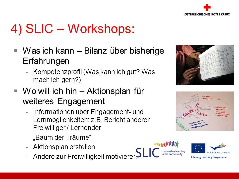 4) SLIC – Workshops: Was ich kann – Bilanz über bisherige Erfahrungen -Kompetenzprofil (Was kann ich gut? Was mach ich gern?) Wo will ich hin – Aktion
