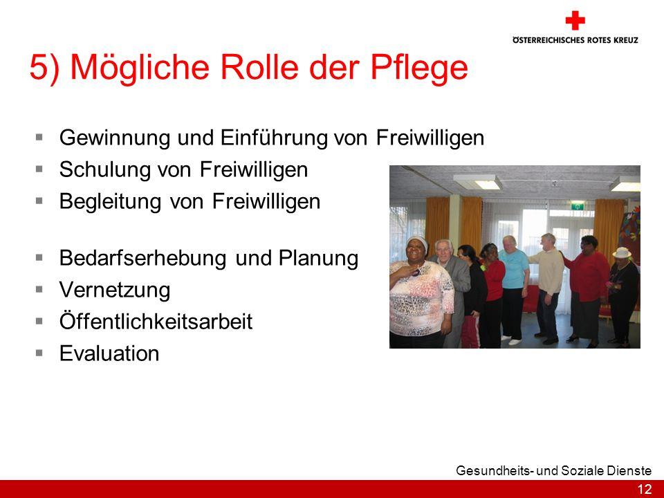 12 Gesundheits- und Soziale Dienste 5) Mögliche Rolle der Pflege Gewinnung und Einführung von Freiwilligen Schulung von Freiwilligen Begleitung von Fr