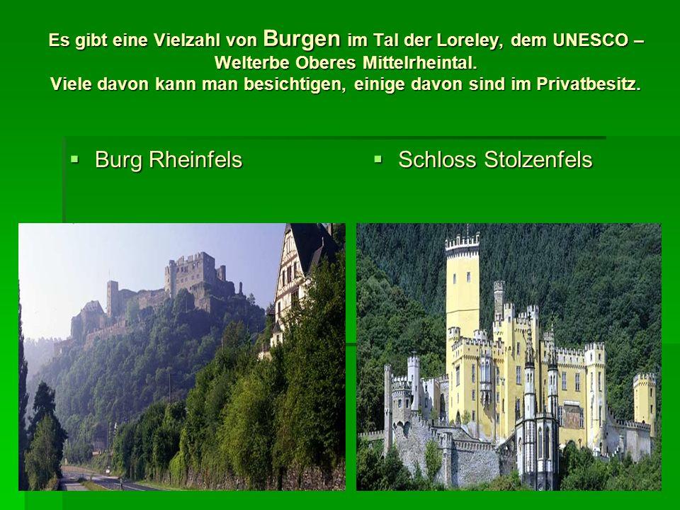 Es gibt eine Vielzahl von Burgen im Tal der Loreley, dem UNESCO – Welterbe Oberes Mittelrheintal. Viele davon kann man besichtigen, einige davon sind