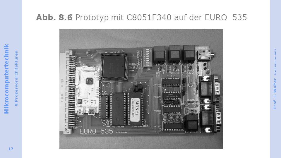 Mikrocomputertechnik 8 Prozessorarchitekturen Prof. J. Walter Stand Oktober 2007 17 Abb. 8.6 Prototyp mit C8051F340 auf der EURO_535