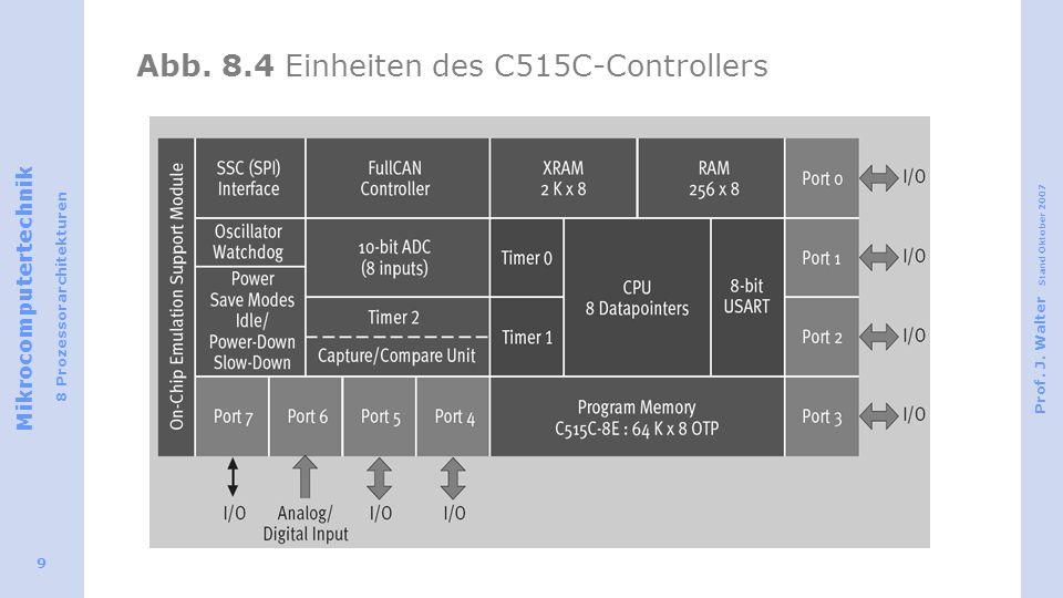 Mikrocomputertechnik 8 Prozessorarchitekturen Prof. J. Walter Stand Oktober 2007 9 Abb. 8.4 Einheiten des C515C-Controllers