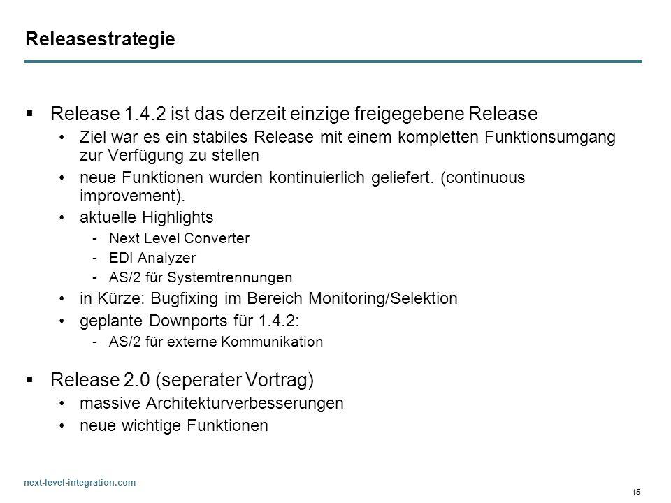 next-level-integration.com 15 Releasestrategie Release 1.4.2 ist das derzeit einzige freigegebene Release Ziel war es ein stabiles Release mit einem k
