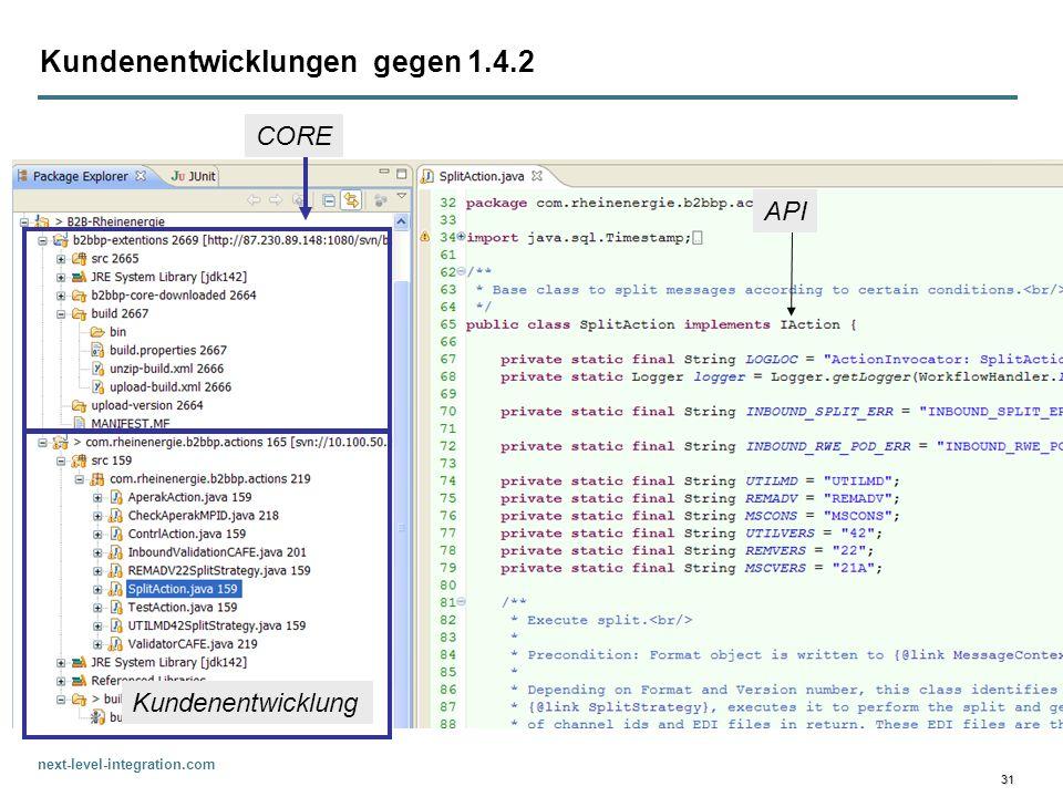 next-level-integration.com 31 Kundenentwicklungen gegen 1.4.2 CORE Kundenentwicklung API