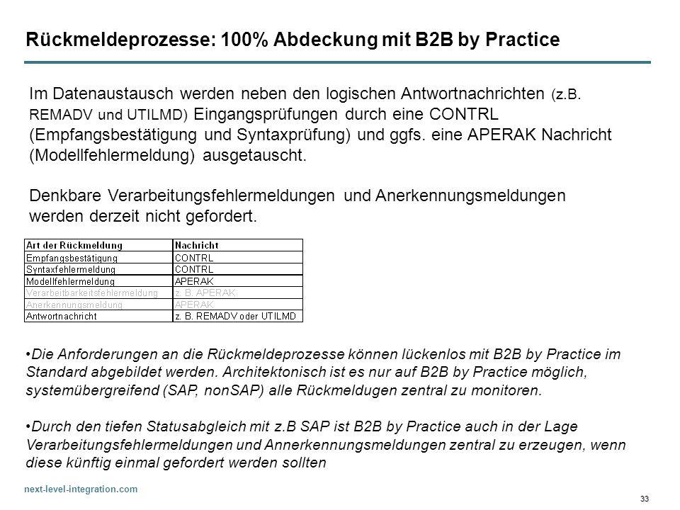 next-level-integration.com 33 Rückmeldeprozesse: 100% Abdeckung mit B2B by Practice Im Datenaustausch werden neben den logischen Antwortnachrichten (z