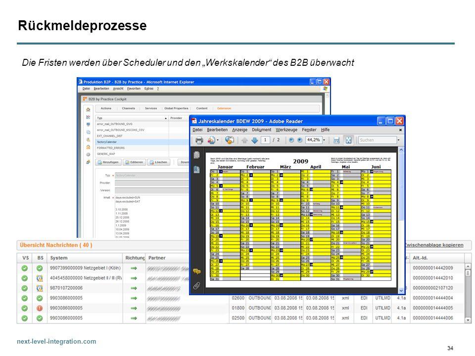 next-level-integration.com 34 Rückmeldeprozesse Die Fristen werden über Scheduler und den Werkskalender des B2B überwacht