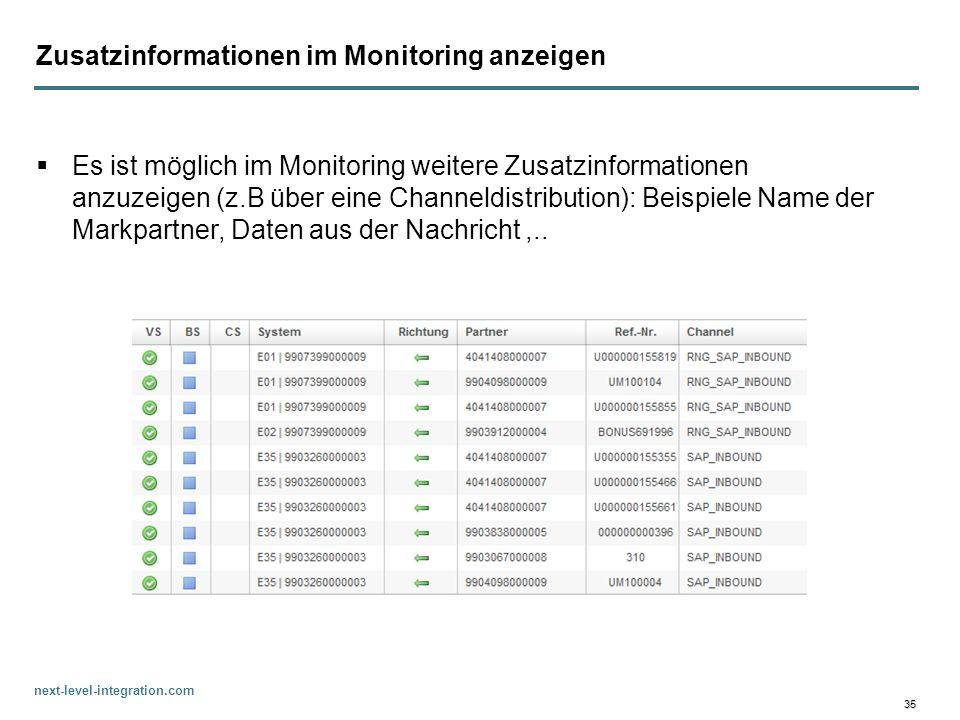 next-level-integration.com 35 Zusatzinformationen im Monitoring anzeigen Es ist möglich im Monitoring weitere Zusatzinformationen anzuzeigen (z.B über
