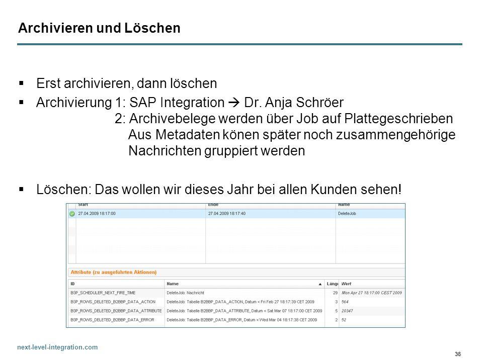 next-level-integration.com 36 Archivieren und Löschen Erst archivieren, dann löschen Archivierung 1: SAP Integration Dr. Anja Schröer 2: Archivebelege