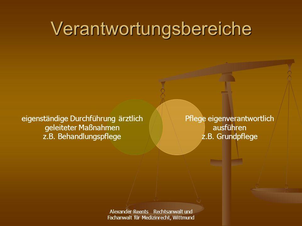 Alexander Reents Rechtsanwalt und Fachanwalt für Medizinrecht, Wittmund Verantwortungsbereiche eigenständige Durchführung ärztlich geleiteter Maßnahme