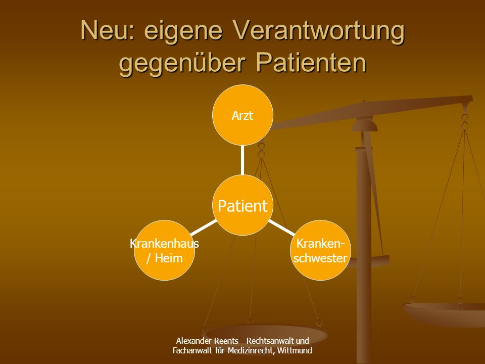 Alexander Reents Rechtsanwalt und Fachanwalt für Medizinrecht, Wittmund Neu: eigene Verantwortung gegenüber Patienten Patient Arzt Kranken- schwester