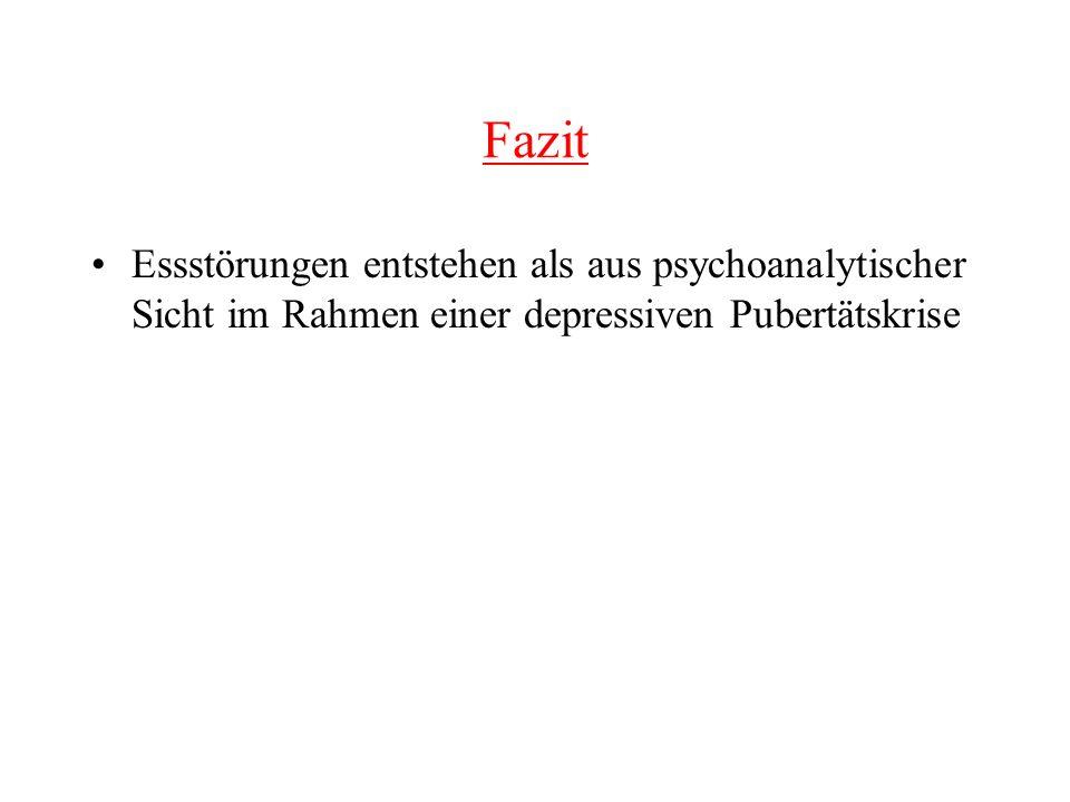 Fazit Essstörungen entstehen als aus psychoanalytischer Sicht im Rahmen einer depressiven Pubertätskrise