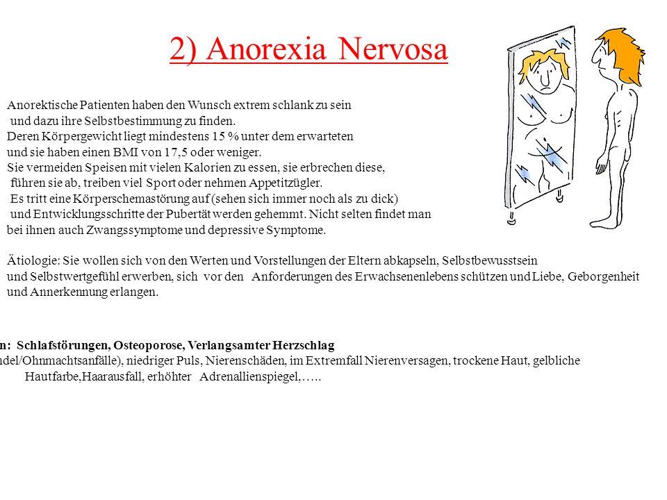 2) Anorexia Nervosa Anorektische Patienten haben den Wunsch extrem schlank zu sein und dazu ihre Selbstbestimmung zu finden. Deren Körpergewicht liegt