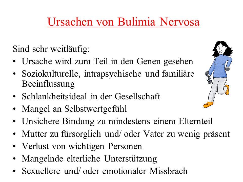 Ursachen von Bulimia Nervosa Sind sehr weitläufig: Ursache wird zum Teil in den Genen gesehen Soziokulturelle, intrapsychische und familiäre Beeinflus