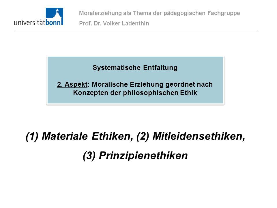 (1) Materiale Ethiken, (2) Mitleidensethiken, (3) Prinzipienethiken Moralerziehung als Thema der pädagogischen Fachgruppe Prof. Dr. Volker Ladenthin S