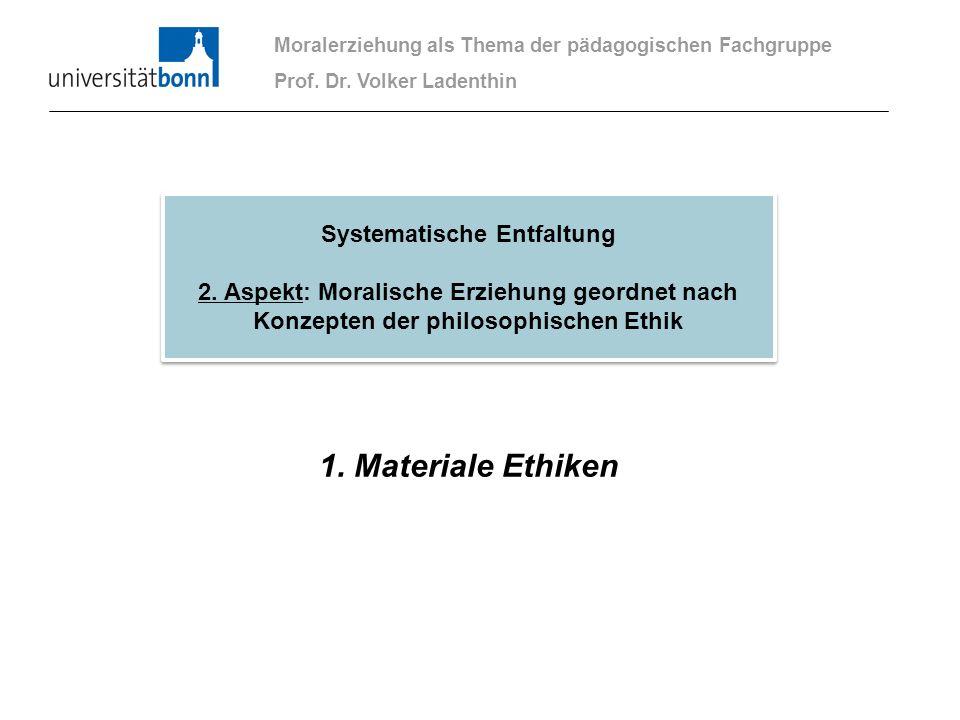 1. Materiale Ethiken Moralerziehung als Thema der pädagogischen Fachgruppe Prof. Dr. Volker Ladenthin Systematische Entfaltung 2. Aspekt: Moralische E
