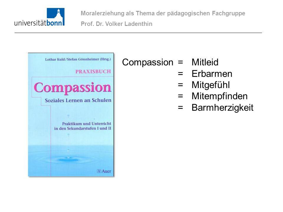 Moralerziehung als Thema der pädagogischen Fachgruppe Prof. Dr. Volker Ladenthin Compassion =Mitleid =Erbarmen =Mitgefühl =Mitempfinden =Barmherzigkei