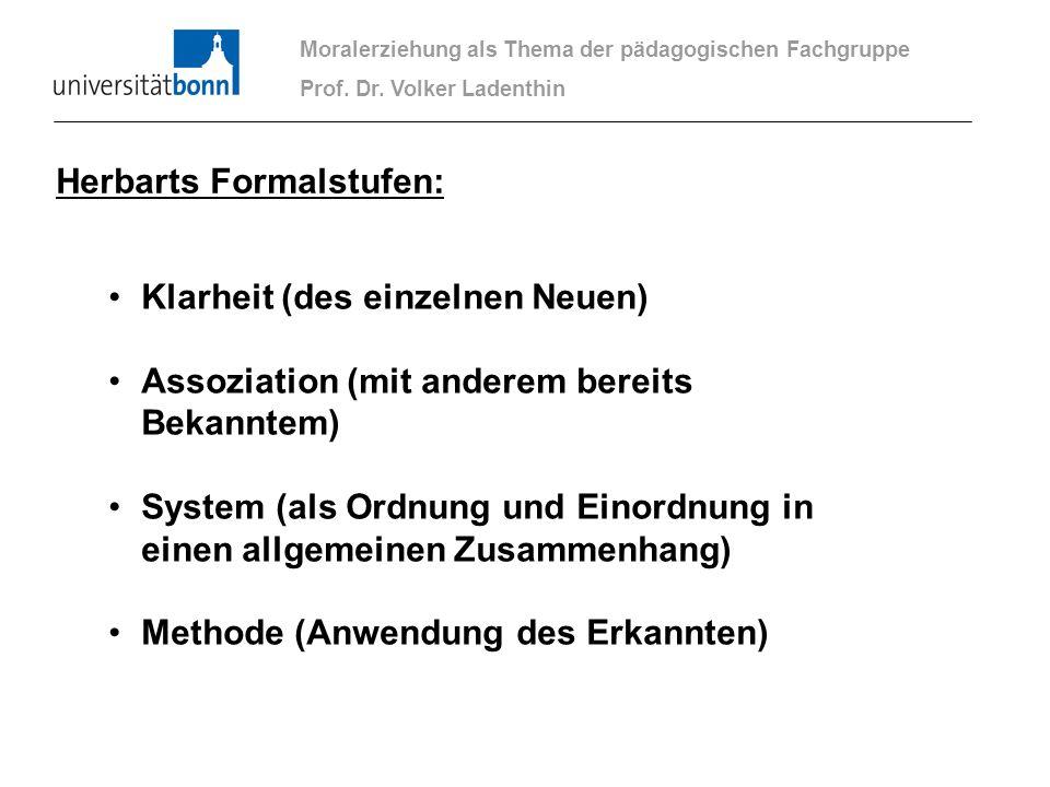 Moralerziehung als Thema der pädagogischen Fachgruppe Prof. Dr. Volker Ladenthin Klarheit (des einzelnen Neuen) Assoziation (mit anderem bereits Bekan
