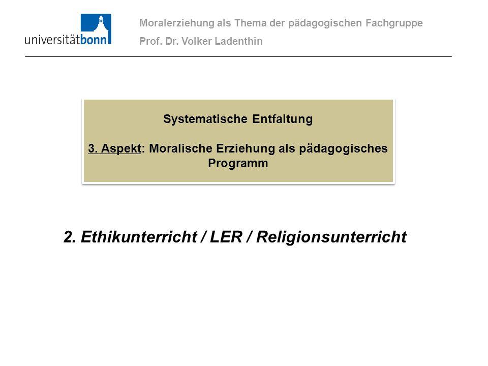 2. Ethikunterricht / LER / Religionsunterricht Moralerziehung als Thema der pädagogischen Fachgruppe Prof. Dr. Volker Ladenthin Systematische Entfaltu