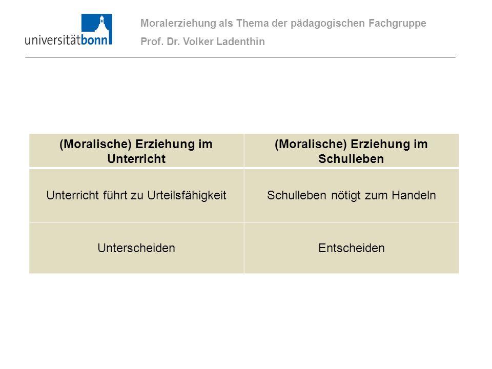 Moralerziehung als Thema der pädagogischen Fachgruppe Prof. Dr. Volker Ladenthin (Moralische) Erziehung im Unterricht (Moralische) Erziehung im Schull