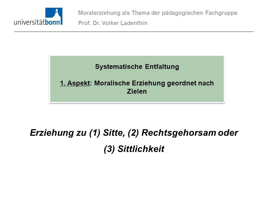 Erziehung zu (1) Sitte, (2) Rechtsgehorsam oder (3) Sittlichkeit Moralerziehung als Thema der pädagogischen Fachgruppe Prof. Dr. Volker Ladenthin Syst