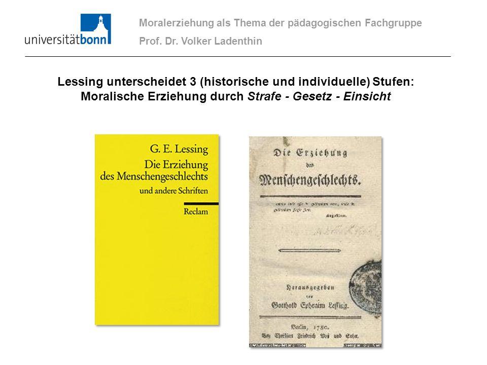 Moralerziehung als Thema der pädagogischen Fachgruppe Prof. Dr. Volker Ladenthin Lessing unterscheidet 3 (historische und individuelle) Stufen: Morali