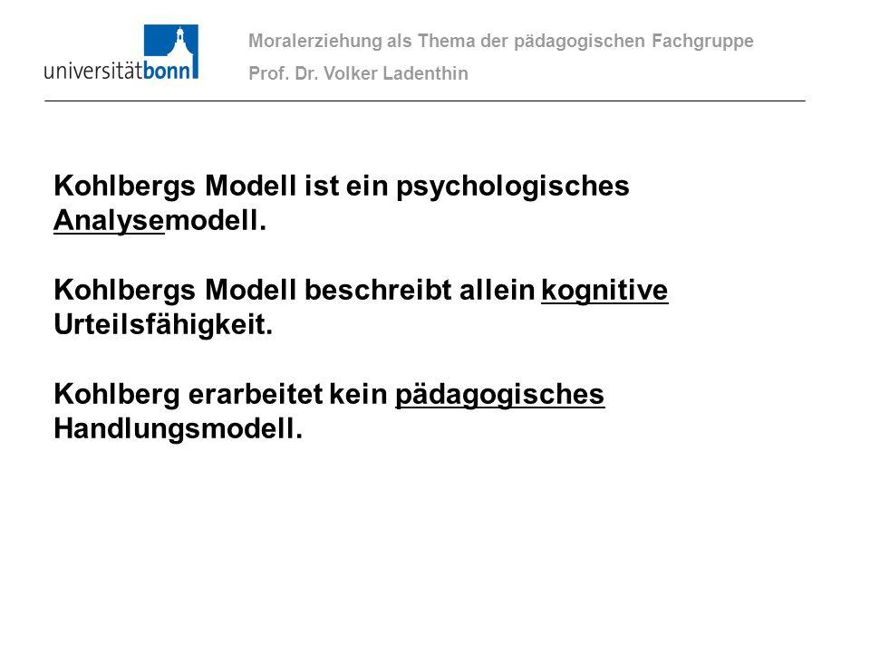 Moralerziehung als Thema der pädagogischen Fachgruppe Prof. Dr. Volker Ladenthin Kohlbergs Modell ist ein psychologisches Analysemodell. Kohlbergs Mod