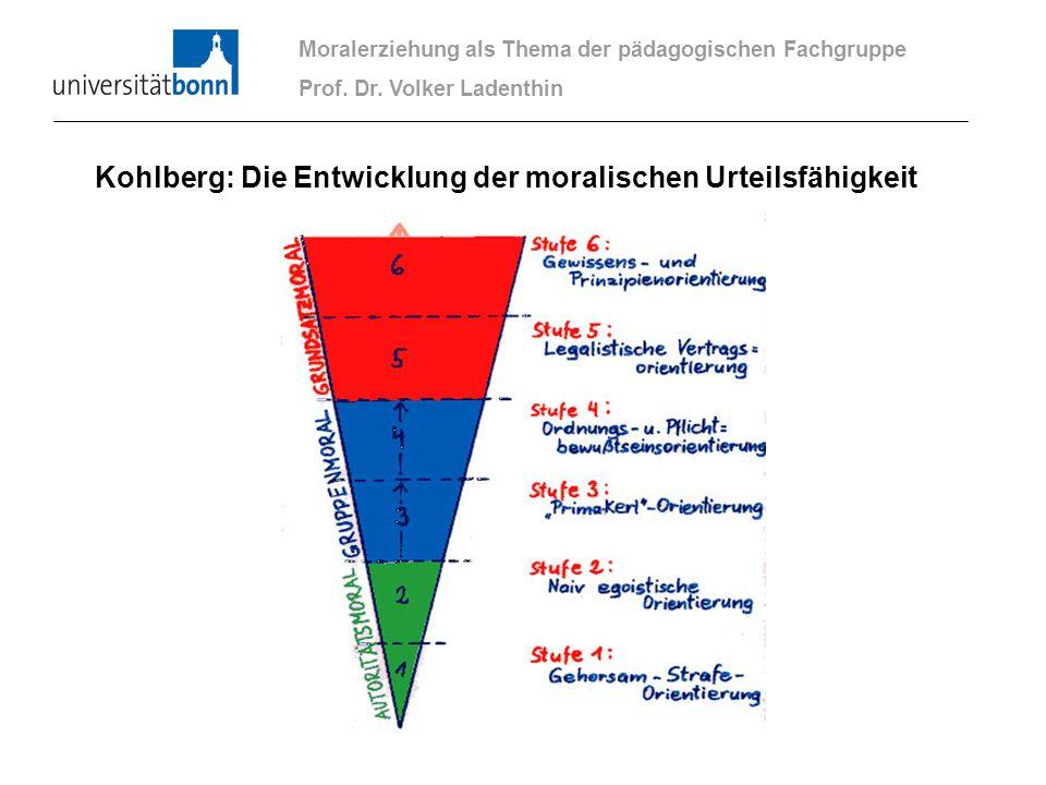 Moralerziehung als Thema der pädagogischen Fachgruppe Prof. Dr. Volker Ladenthin Kohlberg: Die Entwicklung der moralischen Urteilsfähigkeit