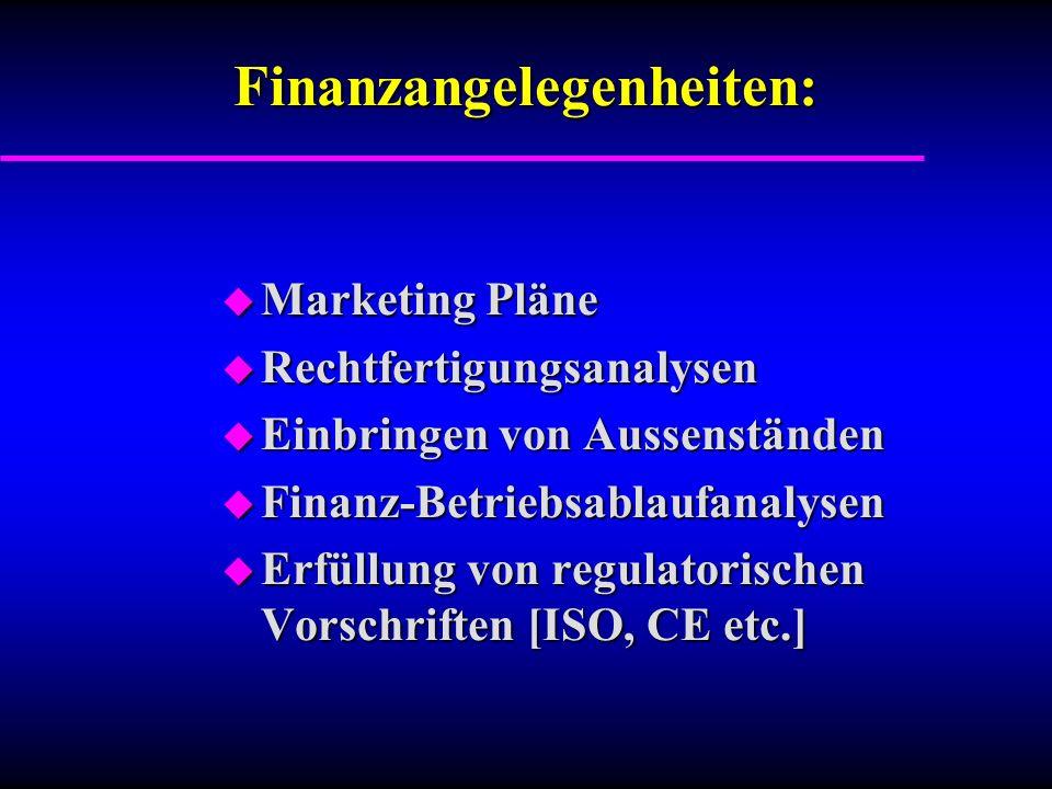 Finanzangelegenheiten: u Marketing Pläne u Rechtfertigungsanalysen u Einbringen von Aussenständen u Finanz-Betriebsablaufanalysen u Erfüllung von regulatorischen Vorschriften [ISO, CE etc.]