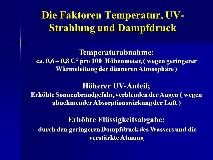 Die Faktoren Temperatur, UV- Strahlung und Dampfdruck Temperaturabnahme; ca. 0,6 – 0,8 C° pro 100 Höhenmeter, ( wegen geringerer Wärmeleitung der dünn