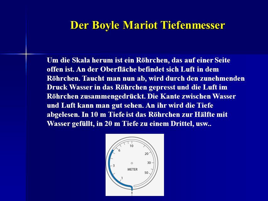 Der Boyle Mariot Tiefenmesser Um die Skala herum ist ein Röhrchen, das auf einer Seite offen ist. An der Oberfläche befindet sich Luft in dem Röhrchen