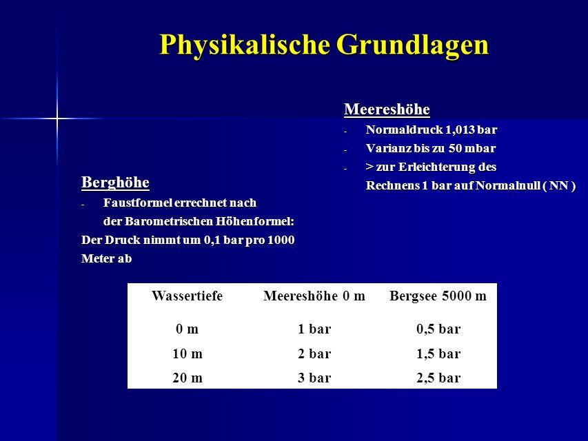 Physikalische Grundlagen Meereshöhe - Normaldruck 1,013 bar - Varianz bis zu 50 mbar - > zur Erleichterung des Rechnens 1 bar auf Normalnull ( NN ) Be