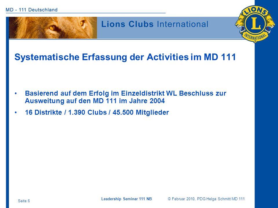 Leadership Seminar 111 NB © Februar 2010, PDG Helga Schmitt MD 111 Seite 6 Systematische Erfassung der Activities im MD 111 Basierend auf dem Erfolg i