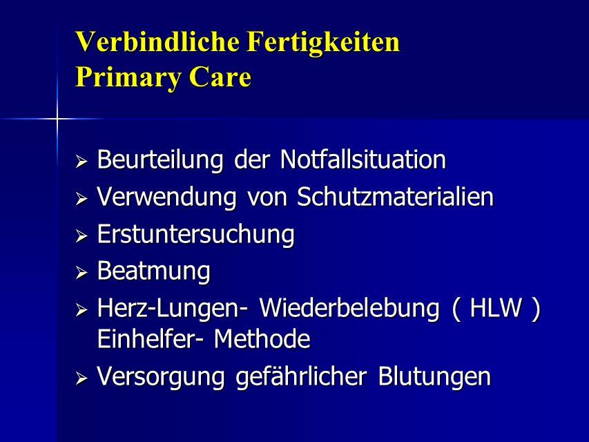 Verbindliche Fertigkeiten Primary Care Beurteilung der Notfallsituation Beurteilung der Notfallsituation Verwendung von Schutzmaterialien Verwendung v