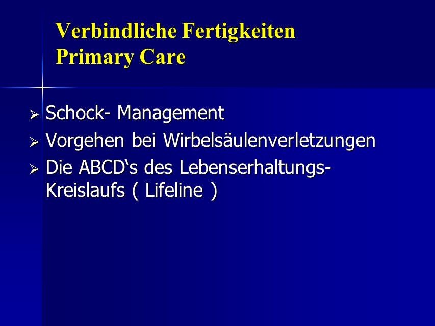 Verbindliche Fertigkeiten Primary Care Schock- Management Schock- Management Vorgehen bei Wirbelsäulenverletzungen Vorgehen bei Wirbelsäulenverletzung