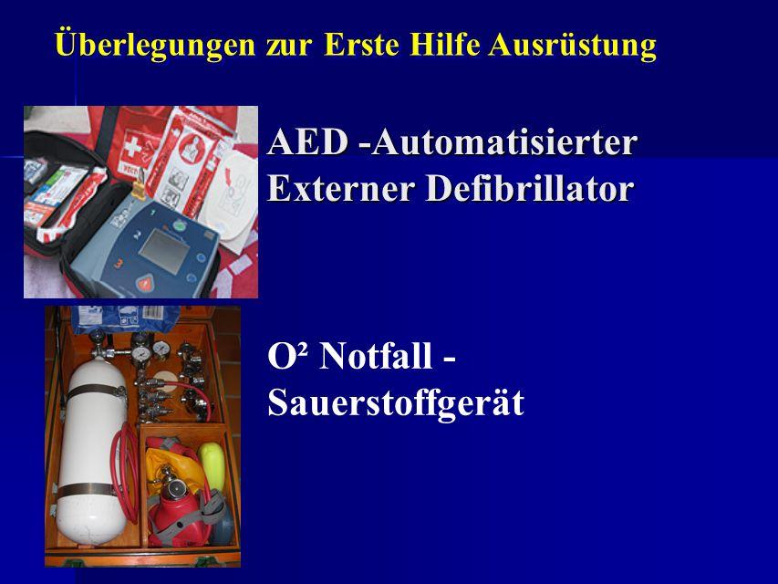 AED -Automatisierter Externer Defibrillator O² Notfall - Sauerstoffgerät Überlegungen zur Erste Hilfe Ausrüstung