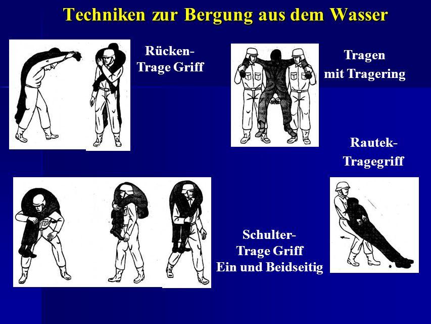 Techniken zur Bergung aus dem Wasser Rücken- Trage Griff Tragen mit Tragering Rautek- Tragegriff Schulter- Trage Griff Ein und Beidseitig