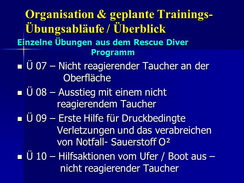 Organisation & geplante Trainings- Übungsabläufe / Überblick Einzelne Übungen aus dem Rescue Diver Programm Ü 07 – Nicht reagierender Taucher an der O