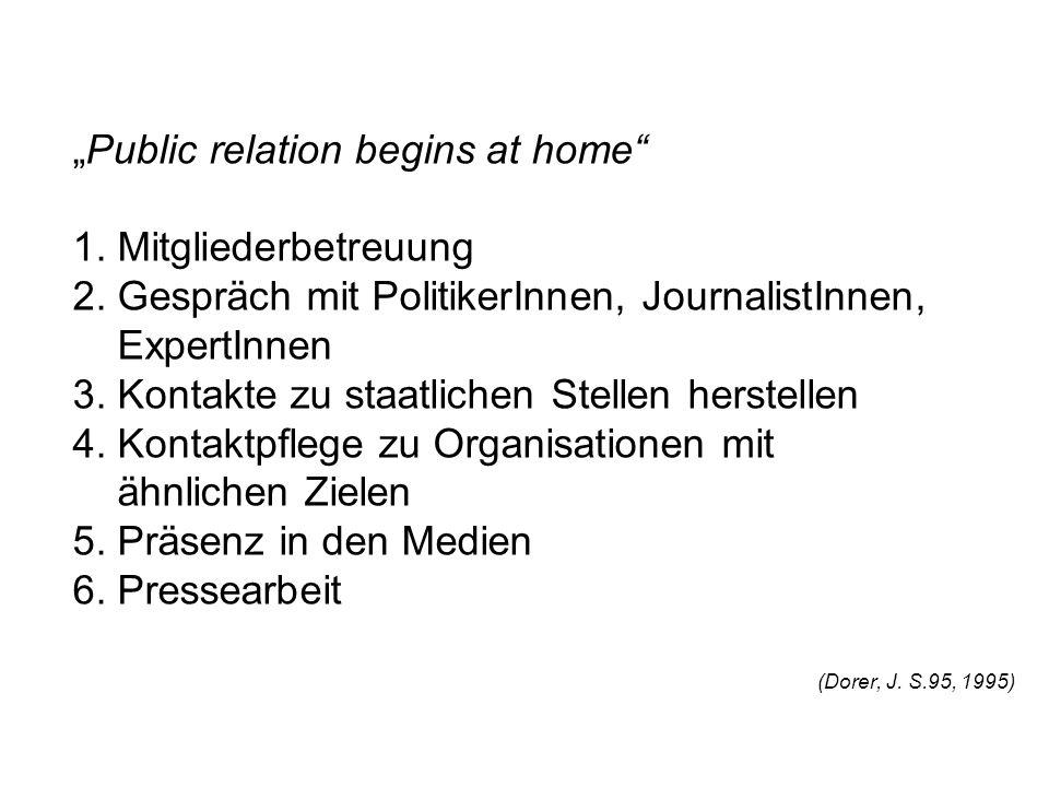 Public relation begins at home 1. Mitgliederbetreuung 2. Gespräch mit PolitikerInnen, JournalistInnen, ExpertInnen 3. Kontakte zu staatlichen Stellen