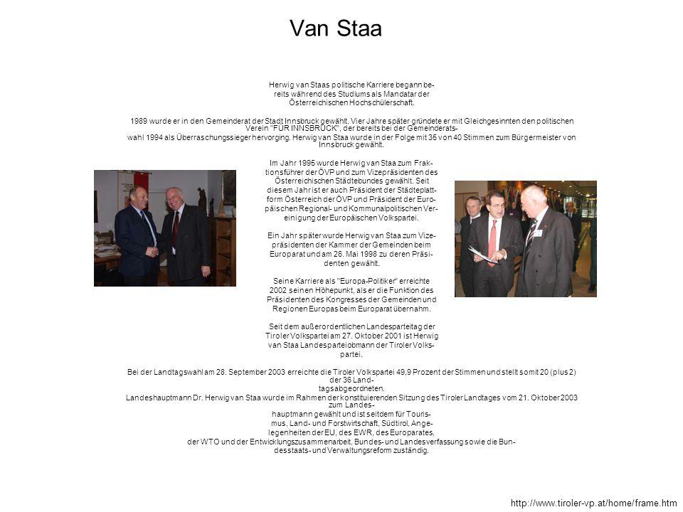 Van Staa Herwig van Staas politische Karriere begann be- reits während des Studiums als Mandatar der Österreichischen Hochschülerschaft. 1989 wurde er