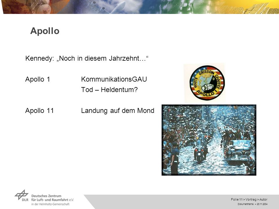 Dokumentname > 23.11.2004 Folie 11 > Vortrag > Autor Apollo Kennedy: Noch in diesem Jahrzehnt… Apollo 1KommunikationsGAU Tod – Heldentum? Apollo 11Lan