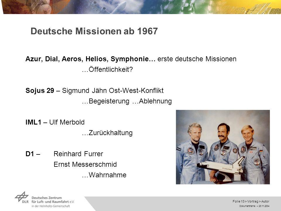 Dokumentname > 23.11.2004 Folie 13 > Vortrag > Autor Deutsche Missionen ab 1967 Azur, Dial, Aeros, Helios, Symphonie… erste deutsche Missionen …Öffent