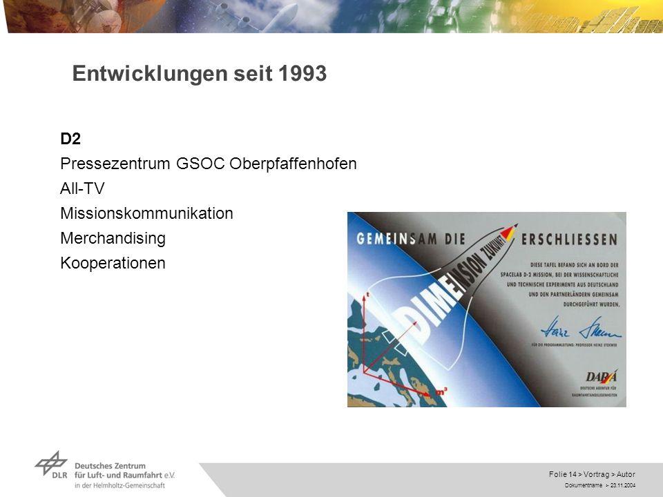 Dokumentname > 23.11.2004 Folie 14 > Vortrag > Autor Entwicklungen seit 1993 D2 Pressezentrum GSOC Oberpfaffenhofen All-TV Missionskommunikation Merch